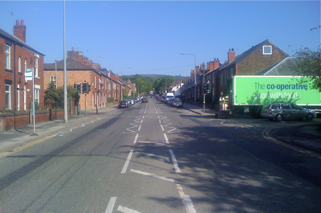 Buxton Road A537 climbs out of Macclesfield