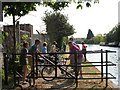 TQ1079 : Cyclists on the towpath by Stephen Craven