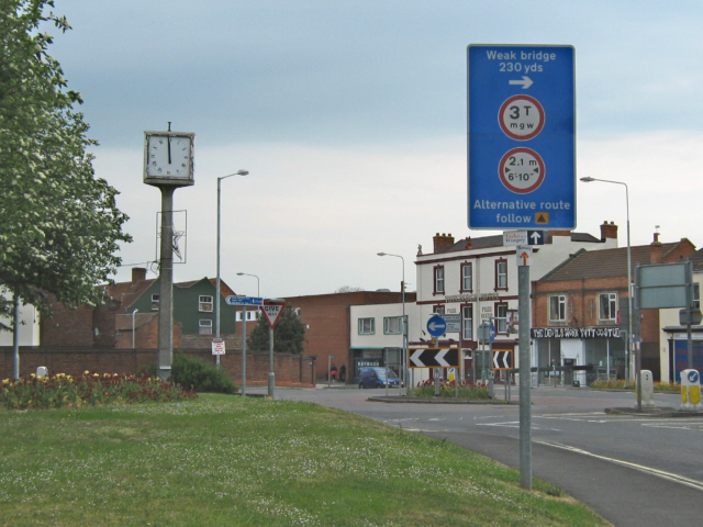 Highbridge roundabout and town clock