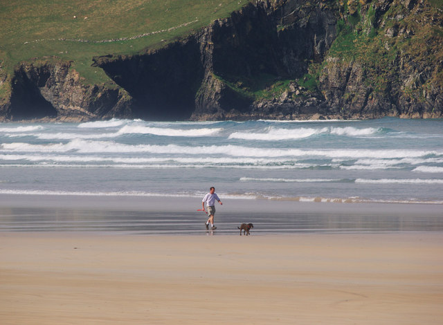 Man and dog, Tramore Strand