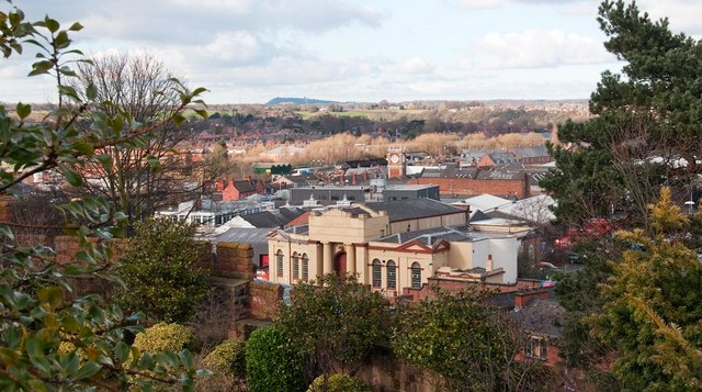 Shrewsbury rooftops from the Castle