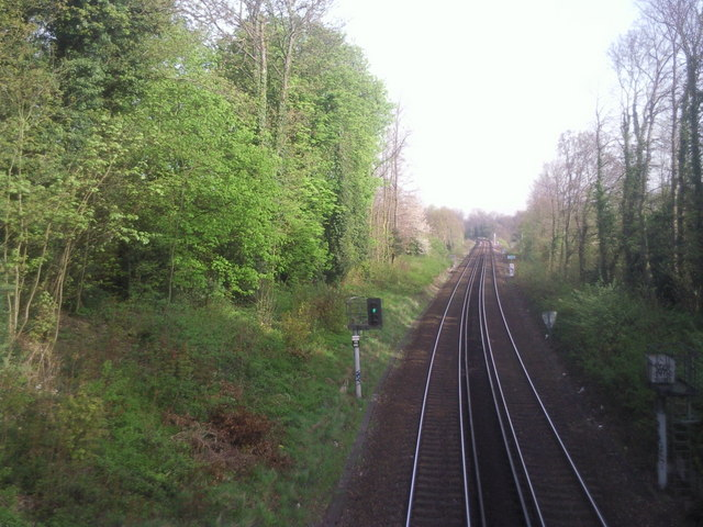 Looking up the line from Ravensbourne station