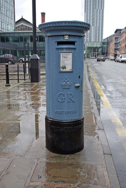 Manchester's blue postbox, Liverpool Road, Castlefield, Manchester
