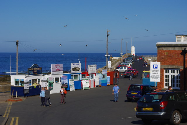 ticket booths at seahouses harbour phil champion cc by sa 2 0