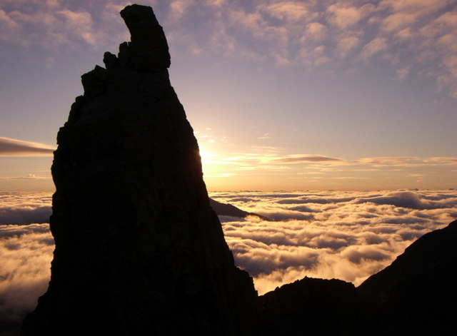 Sunrise behind the Inaccessible Pinnacle