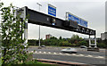 J3478 : Motorway gantry sign, Belfast by Albert Bridge