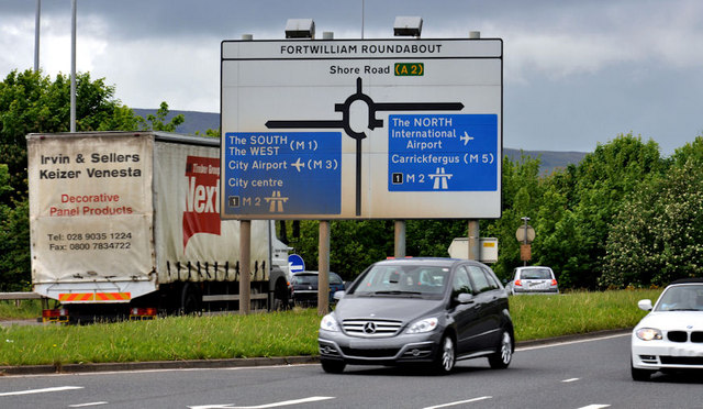 Fortwilliam roundabout sign, Belfast