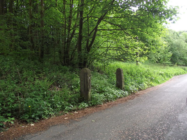 Redundant gateposts on Barrow Bridge Road
