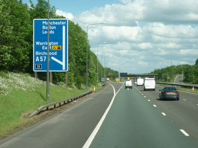 Approaching junction 11 on the M62 east bound