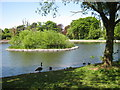 SP1392 : Lakeside and Island, Pype Hayes Park by Michael Westley
