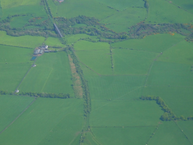 Old railway line near Ochiltree from the air