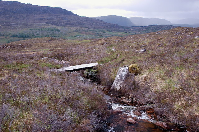 Footbridge below Coire na Feola, Beinn Bhan