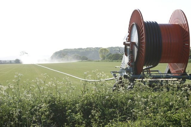 Irrigating turf grass, Barkston Road, Marston