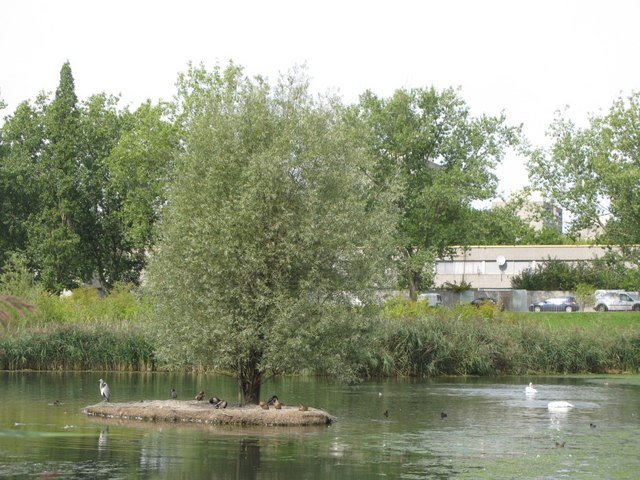 Island in a lake in Sutcliffe Park