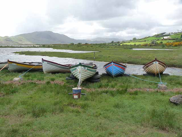 Boats on the shore of Lough Mask