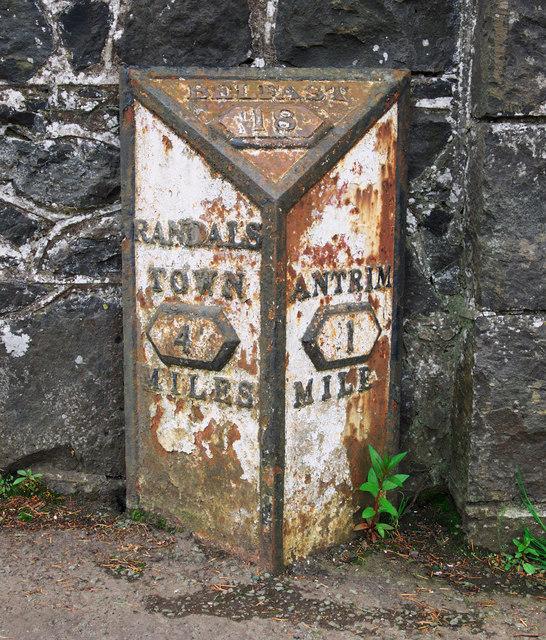 Milepost near Antrim