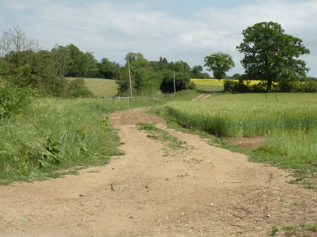 A farm track near to Wortham parish church