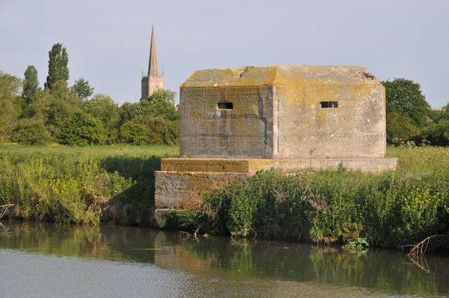 Pillbox and spire of Lechlade church