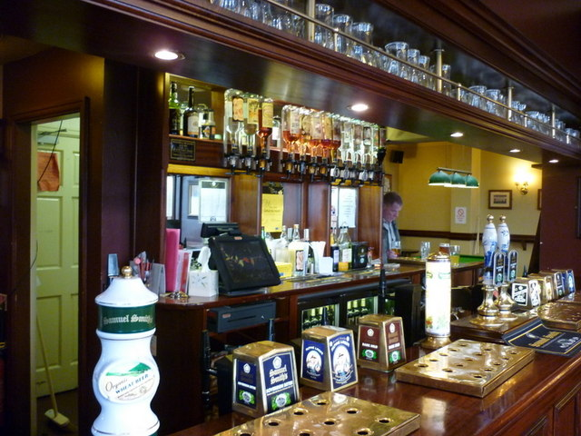 The bar of the Rugby Tavern, a Sam Smith's pub