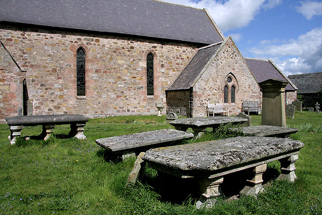 Tablestone graves in Kirknewton Churchyard