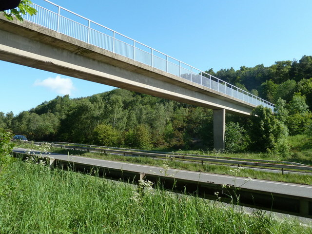A61 and footbridge, Monk Wood