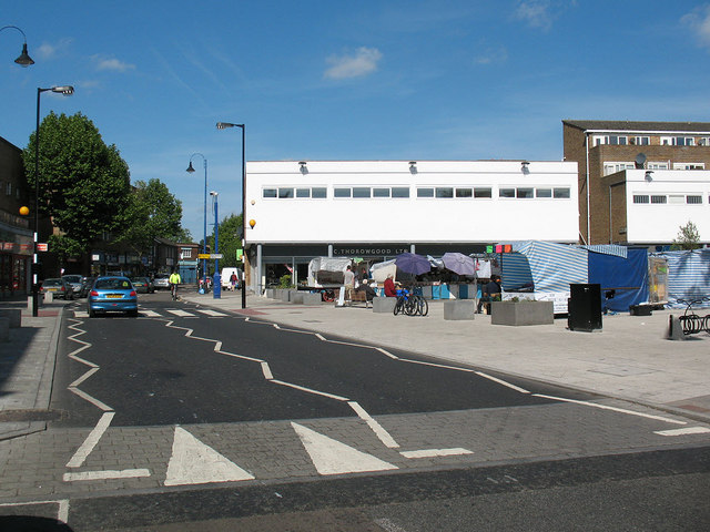 Pedestrian crossing at Bermondsey Blue Market