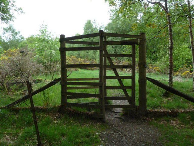 Gate into woodland on the Glen Ogle trail