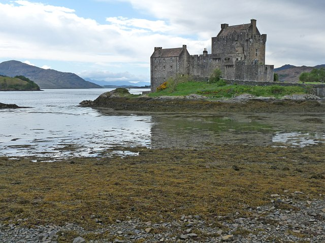 Eilean Donan Castle at low tide