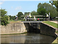 TL4311 : Cyclists at Parndon Lock by Stephen Craven