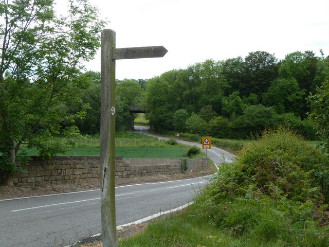Spinkhill Lane towards the old railway bridge