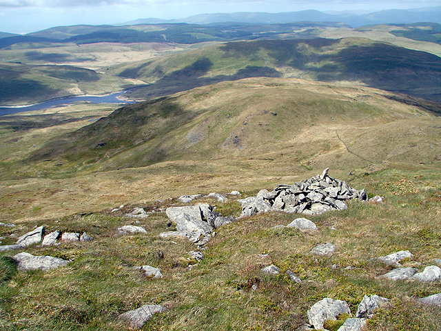 A cairn just below the summit of Plynlimon
