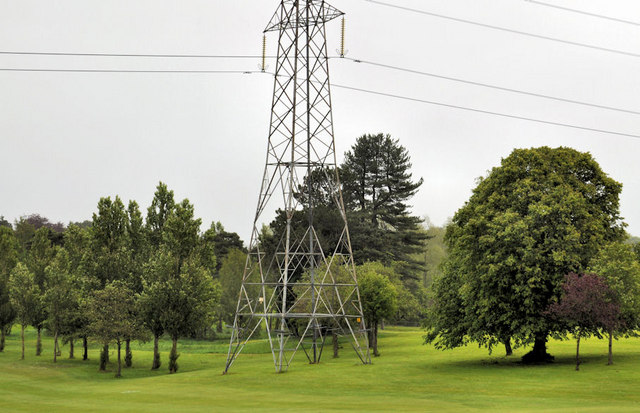 Pylon and power lines, Lambeg (4)