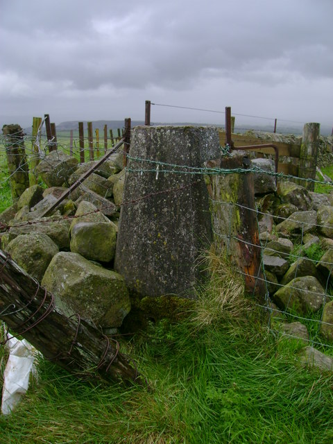 Trig point at fence and wall junction