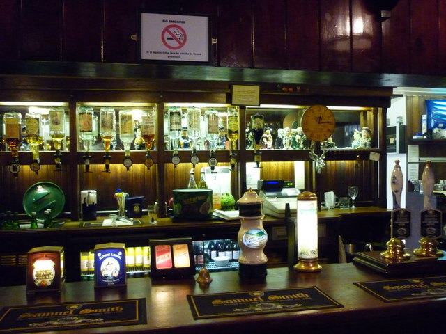 The bar at the Bird in Hand, a Sam Smith's pub