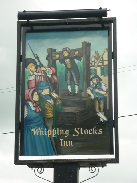 The sign for the Whipping Stocks, a Sam Smith's pub