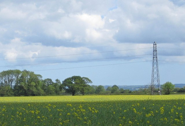 Overhead power lines near Amotherby