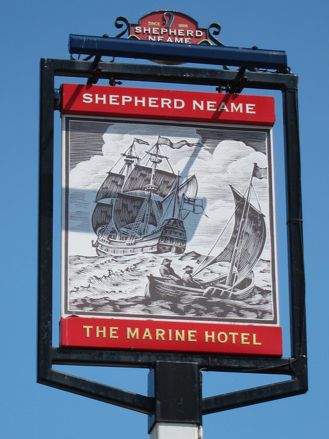 The Marine Hotel sign