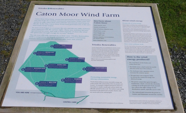 Caton Moor Wind Farm information board