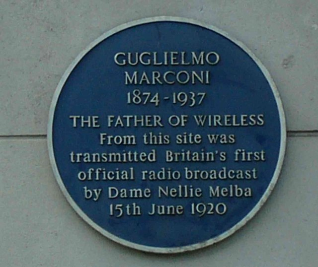 Plaque on Marconi Works, New Street