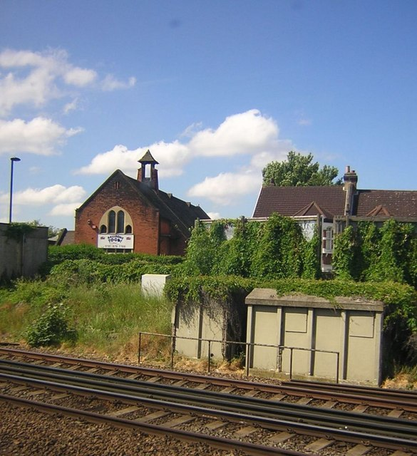 Streatham Common: former church of St John, from the train
