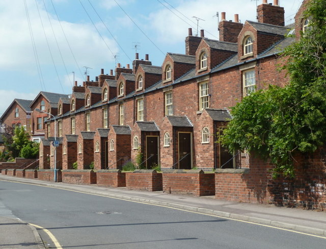 Distinctive terraced houses, Porter Street, Staveley