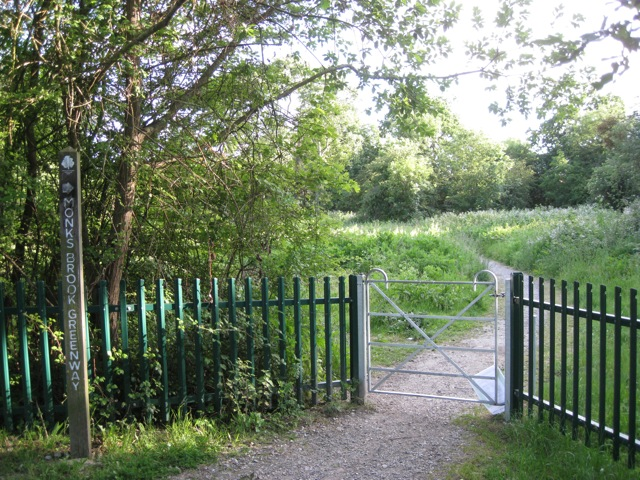 Gate into Monks Brook Greenway