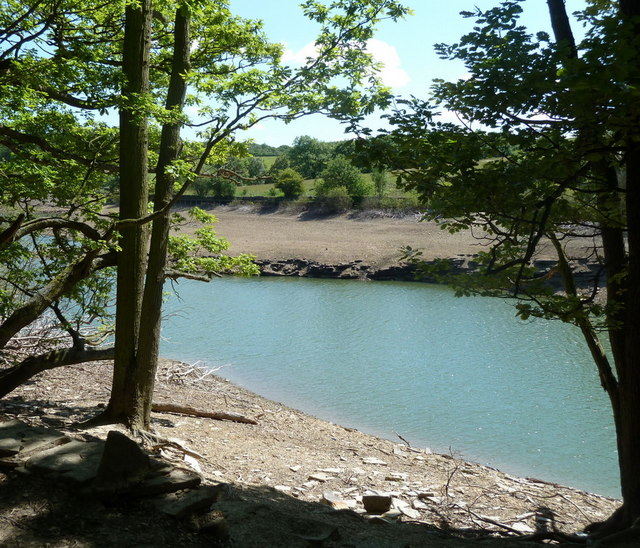 Depleted water levels, Linacre upper reservoir