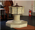 TQ2480 : St John the Evangelist, Lansdowne Crescent - Font by John Salmon
