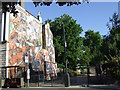 TQ3480 : Recreation ground entrance and mural, Shadwell by Malc McDonald