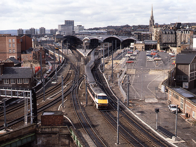 Train leaving Newcastle Central Station