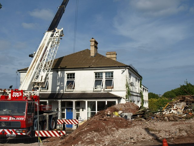House undergoing demolition, Barton Road, Torquay