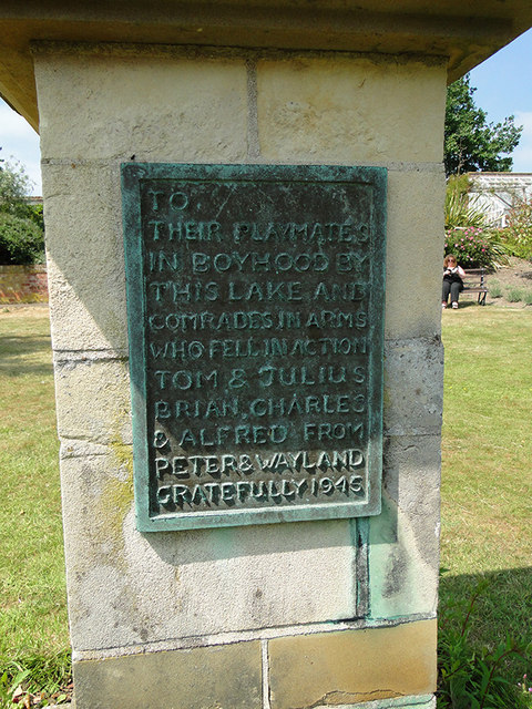 Plaque on the memorial sculpture near Fritton Lake
