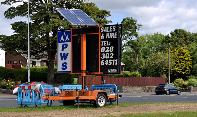 Solar Powered Road Sign Jordanstown 169 Albert Bridge Cc By