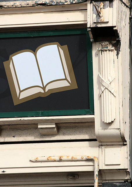 A fascia detail at Books Plus, Galashiels